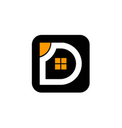 real estate letter d and window house logo vector image
