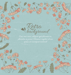 Retro flowery decorative template vector