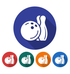 round icon bowling flat style with long shadow vector image