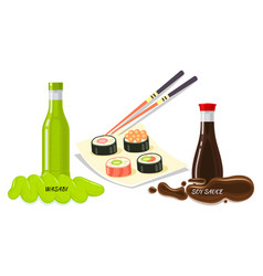 Sauces for sushi flat style concept vector