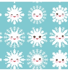 seamless pattern Kawaii snowflake set white funny vector image