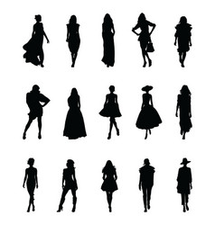 set beautiful fashion girl silhouette vector image