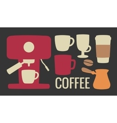 Set coffee icon Coffee machine cezve or turkish vector