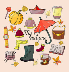 set of autumn hand drawn elements vector image