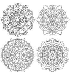 set of black and white mandala vector image