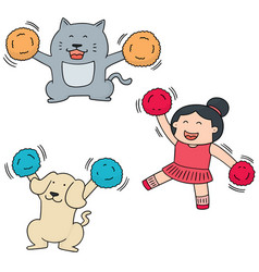 set of cheerleader dog and cat vector image