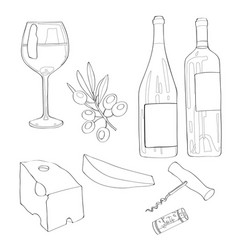 Set wine a glass of wine a vector