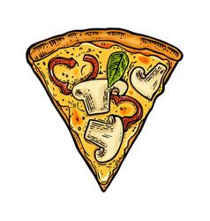 slice pizza capricciosa vintage engraving vector image