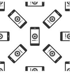 Smartphone update process with gearbox progress vector