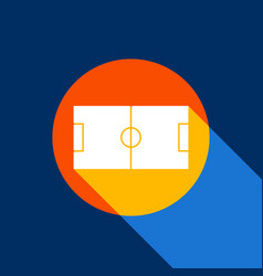 soccer field white icon on tangelo circle vector image