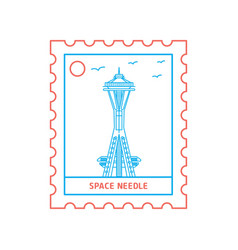 space needle postage stamp blue and red line style vector image