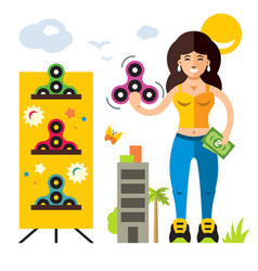 Spinner seller flat style colorful cartoon vector