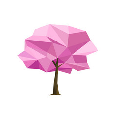 spring concept pink tree formed by triangles vector image