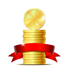 Stack of coins with red ribbon vector