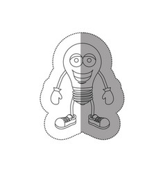 sticker contour of cartoon light bulb icon flat vector image