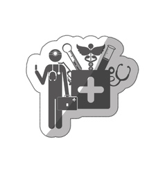 Sticker silhouette doctor with medical tools vector