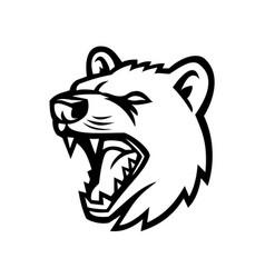 Tasmanian devil head mascot black and white vector