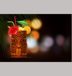 Tiki cocktail on summer night background vector