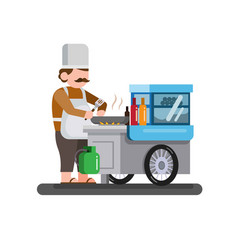 traditional street food cart trolley flat design vector image