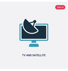 two color tv and satellite icon from technology vector image