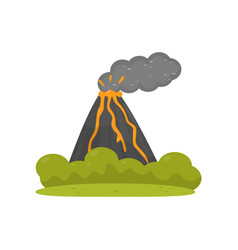 volcano eruption element of tropical jungle vector image