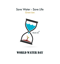water drop and sandglass icon with small tree vector image