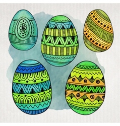 Watercolor ornamental Easter eggs set vector image