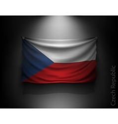 waving flag Czech Republic on a dark wall vector image
