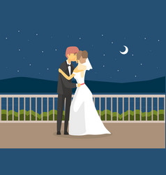 wedding day happy just married couple romantic vector image