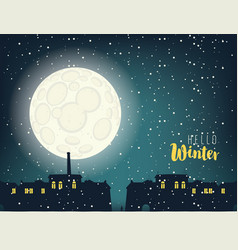 Winter night cityscape with full moon and houses vector