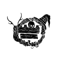 witching wreath with horns skull hat candles vector image