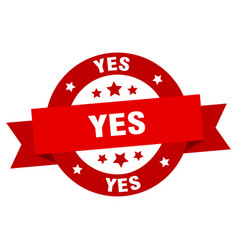 yes ribbon yes round red sign yes vector image