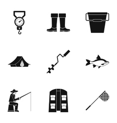 Angling icons set simple style vector image