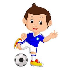 cartoon boy playing football vector image
