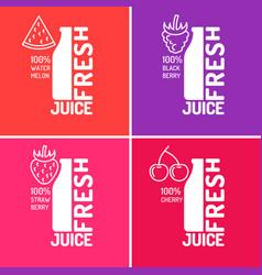 set of posters fresh juice with blackberries vector image vector image