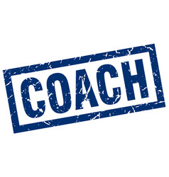 Square grunge blue coach stamp vector