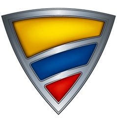 steel shield with flag colombia vector image vector image