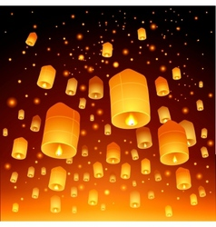 Thailand Loy Krathong and Yi Peng Festival vector image vector image