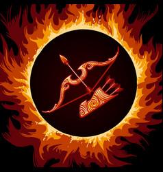 zodiac sign of sagittarius in fire circle vector image