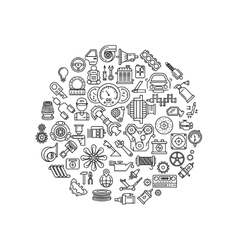 Auto spare parts line icons in circle vector image vector image