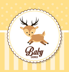 baby shower card invitation cute deer vector image vector image