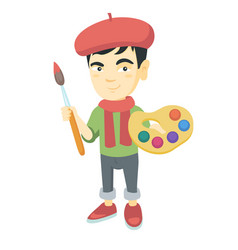 boy dressed as an artist holding brush and paints vector image