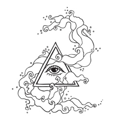 Eye in pyramid with mystic smoke vector image