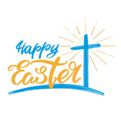 Happy easter holiday religious calligraphic text vector