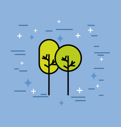 natural trees forest ecology icon vector image