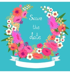Vintage card with floral wreath Save the date vector image