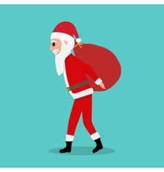 Cartoon Santa Claus carries big red bag with gifts vector image vector image