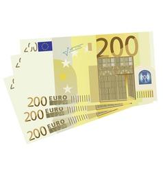 drawing of a 3x 200 Euro bills vector image vector image