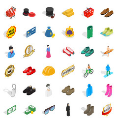 fashion clothes icons set isometric style vector image