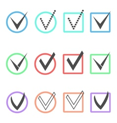 set of different ticks in colored boxes and vector image vector image